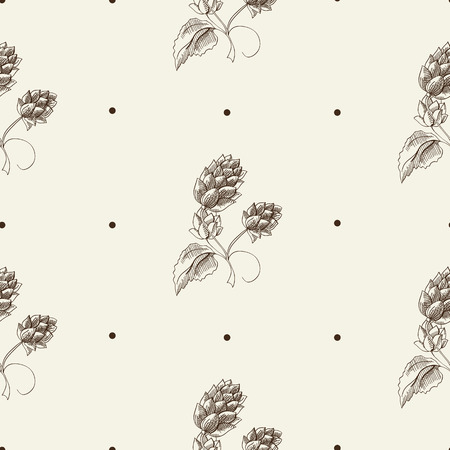 Abstract herbal sketch seamless pattern with repeating beer hop plant on gray background vector illustration Illustration