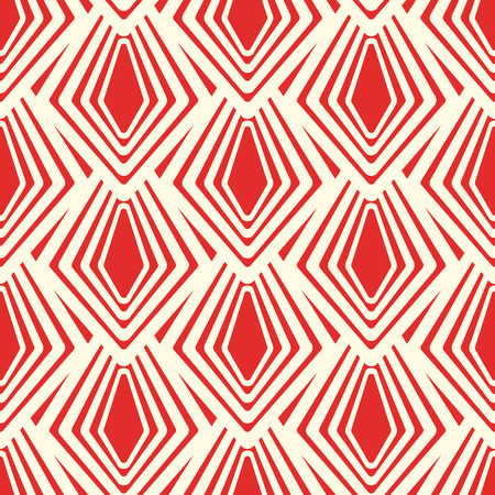 Abstract decorative seamless pattern with red geometric repeating traceries in minimalistic style vector illustration  イラスト・ベクター素材