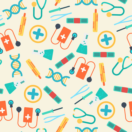 Healthcare seamless pattern with colorful equipment and tools in flat style on light background vector illustration