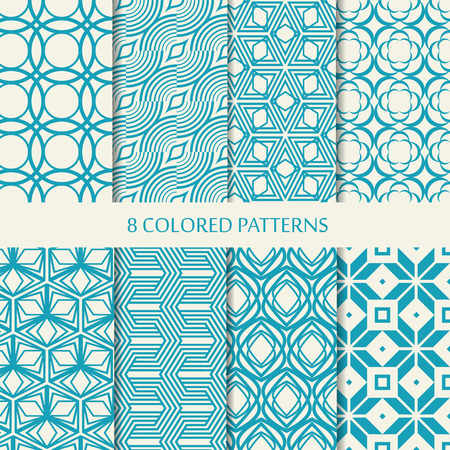 Set of eight seamless chevron patterns in blue and white colors with collection of different stylish shapes and chevron repeating elements vector illustration Çizim