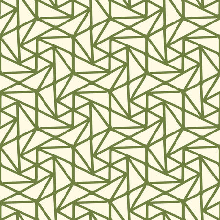 Seamless geometric triangle pattern with green lines, many simple repeatable shapes on the white background vector illustration Imagens - 94903104