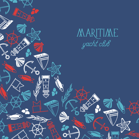 Maritime colorful yacht club poster divided on two parts where there is the name of yacht club and many maritime elements. Illustration