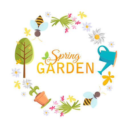 Spring garden design circle frame with images of tree, pot, bee, watering can, bird house and many other objects on the white background vector illustration