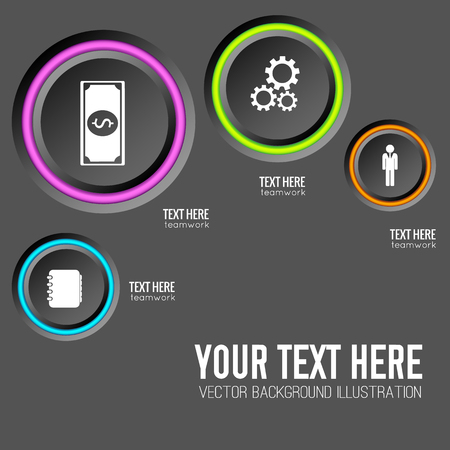 Web infographic concept with gray round buttons colorful edging and icons on dark background isolated vector illustration Illustration