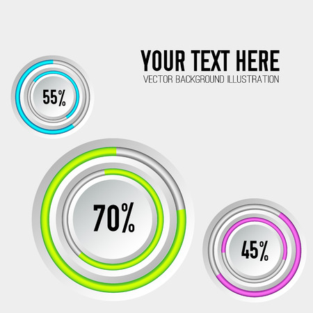 Abstract business infographic template with gray round buttons colorful rings and percent rates isolated vector illustration
