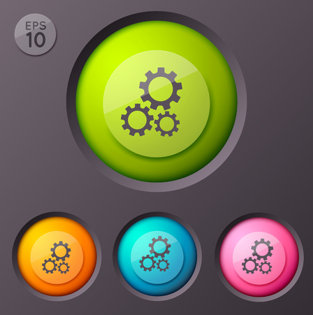 Business infographic background with four similar round buttons of different size with settings application interface pictogram vector illustration