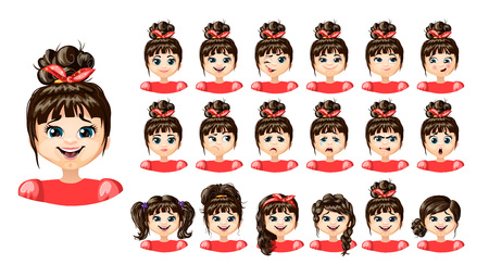Cartoon Cute Girl Emotions Set