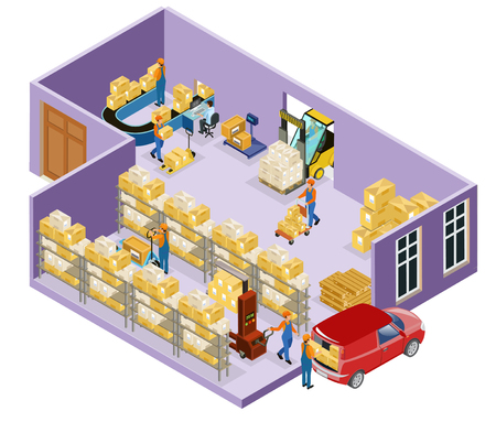 Isometric Warehouse Logistic Template Stock Vector - 95012733