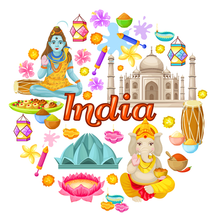 Indian Culture Icons Round Concept