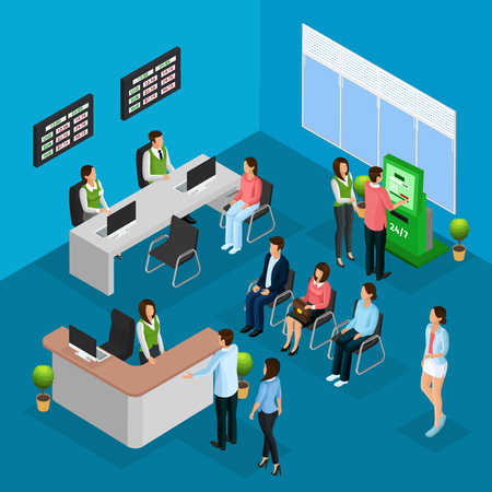 Isometric People In Bank Office Concept