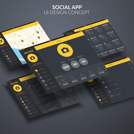 Social page application ui design concept on dark background flat vector illustration Ilustrace