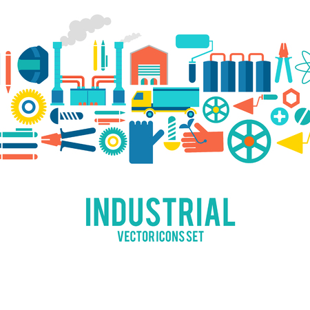 Industrial vector colored decorative icons set concept with motortruck, smokestacks, boot, pump and others working implements vector illustration