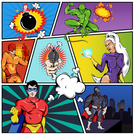 Szablon strony komiksu superbohaterów
