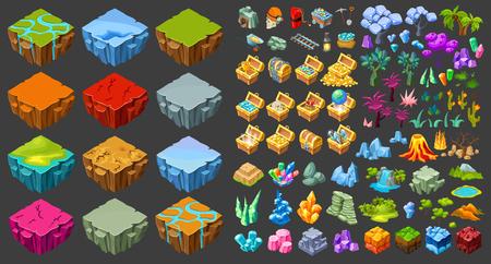 Isometric Game Landscape Icons Set Stock Illustratie