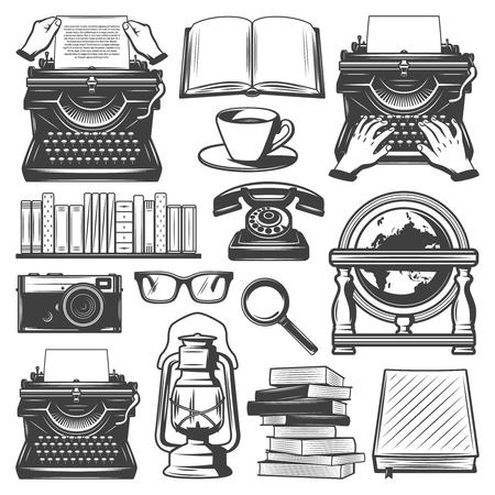 Vintage Writer Elements Set Vectores