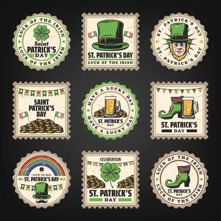 Vintage Saint Patricks Day Stamps Set Stock Vector - 95178903