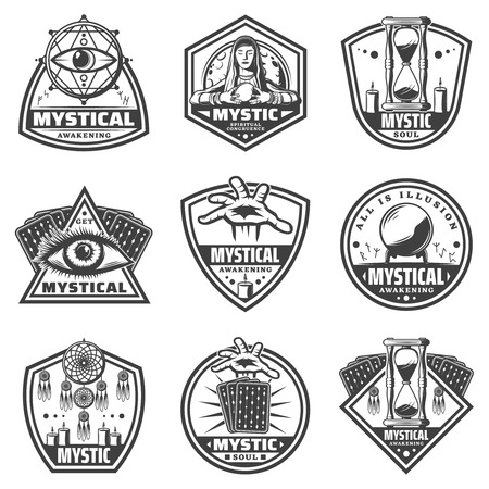 Vintage Monochrome Mystic Labels Set