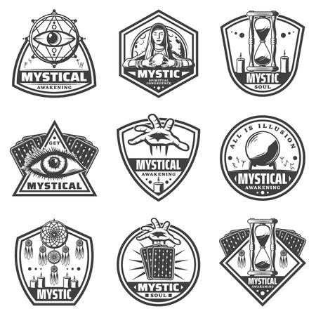 Vintage Monochrome Mystic Labels Set