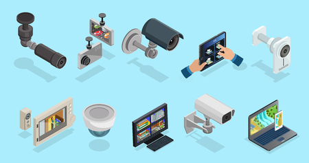 Isometric CCTV Elements Collection