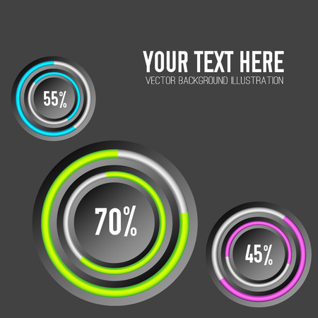 Business web infographic concept with three circles colorful rings and percentage on dark background isolated vector illustration