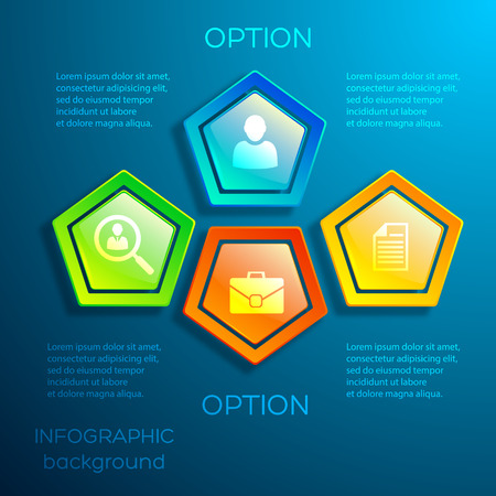 Business digital infographic concept with text glossy colorful hexagons and icons on blue background isolated vector illustration