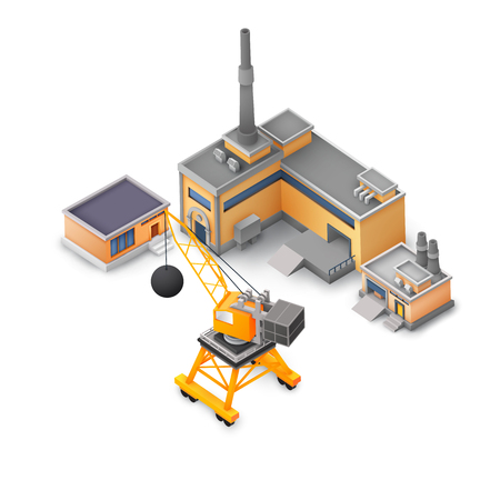 Industrial Factory Design White Background Concept