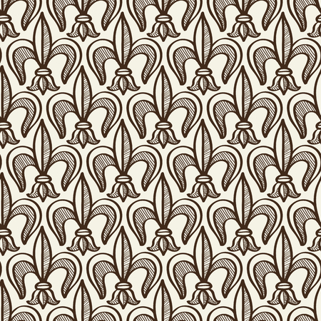 Hand Drawn Seamless Pattern With Floral Hatched Elements