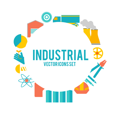 Design Decorative Set With Industry Objects Poster Illustration