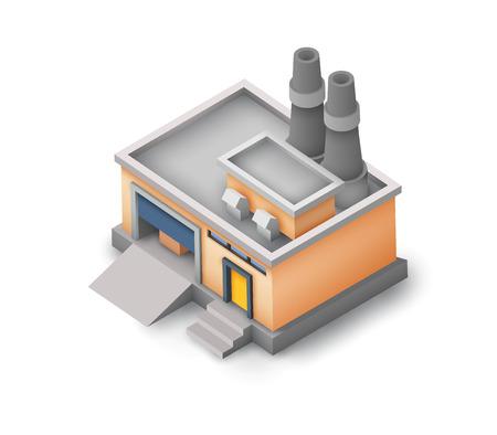 Isometric Industrial Warehouse Building Concept Archivio Fotografico - 95275795