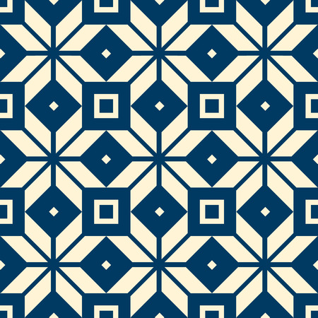 Abstract vintage seamless pattern with repeating geometric shapes in minimalistic kaleidoscope style vector illustration Illustration