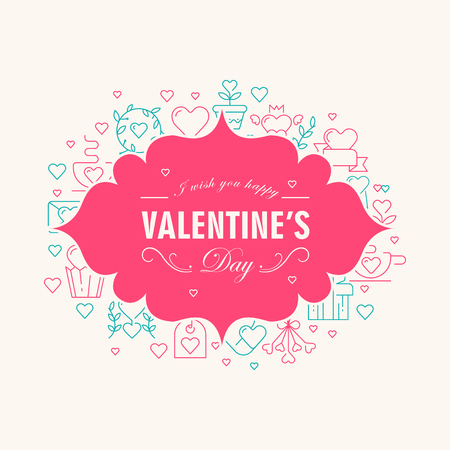 Valentines day decorative card with wishes be happy on the elegant rose frame with many icons such as heart, twig, envelope on the white background vector illustration Stock Vector - 95299299