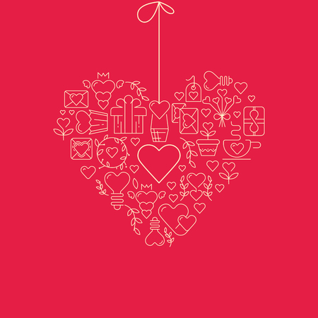 Garland heart template sketch poster with many beautiful objects symbolizing valentines day hand drawn on the red paper vector illustration Ilustração