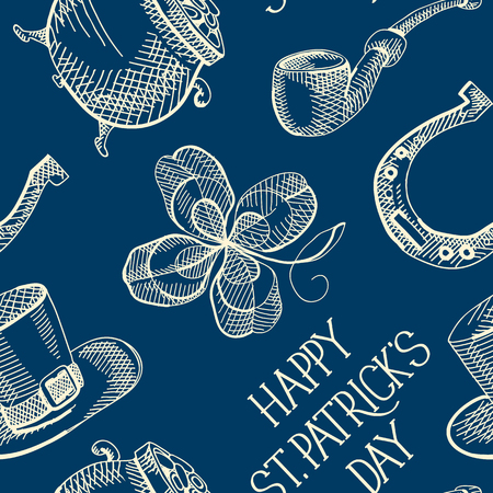 Blue St Patricks Day seamless pattern with clover hat horseshoe smoking pipe pot of gold coins vector illustration Stock Vector - 95299783