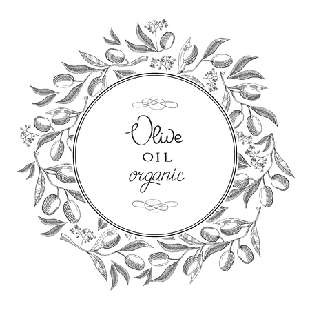 Monochrome round decorative frame with olives, leaves, luxury branches evenly drawing on background and text about organic olive oil hand drawn doodle vector illustration