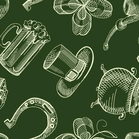 Vintage Saint Patricks Day Seamless Pattern
