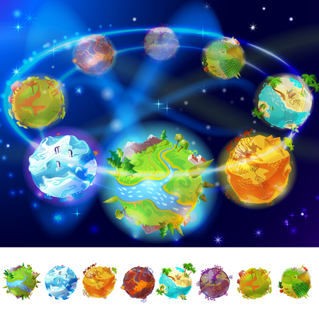 Cartoon Earth Planets Collection  イラスト・ベクター素材