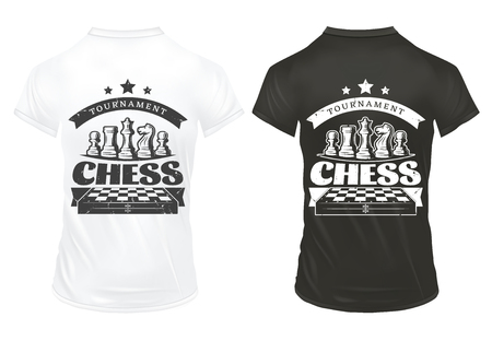 Vintage Chess Prints On Shirts Template Illusztráció