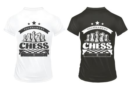 Vintage Chess Prints On Shirts Template Ilustrace
