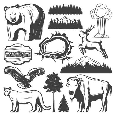 Conjunto de iconos Vintage Yellowstone National Park Ilustración de vector