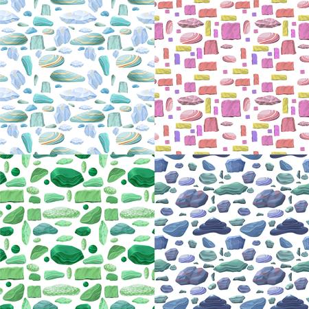 Conjunto de patrones sin fisuras de piedras naturales de dibujos animados Foto de archivo - 95850931