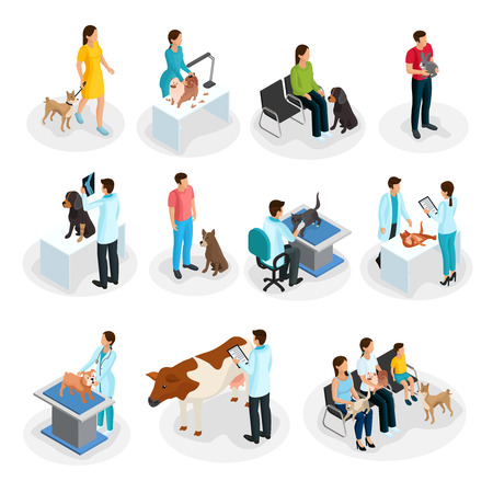 Isometric Veterinary Clinic Set Vectores