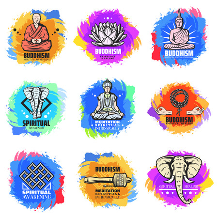 Vintage Buddhism Religion Emblems Set Illustration