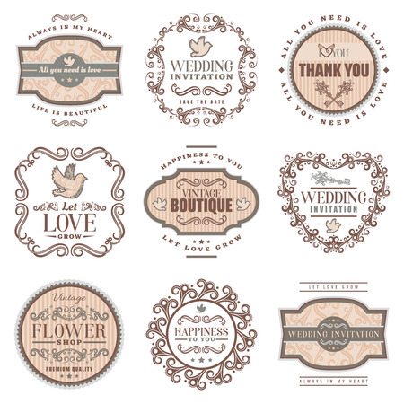Vintage Romantic Labels Set