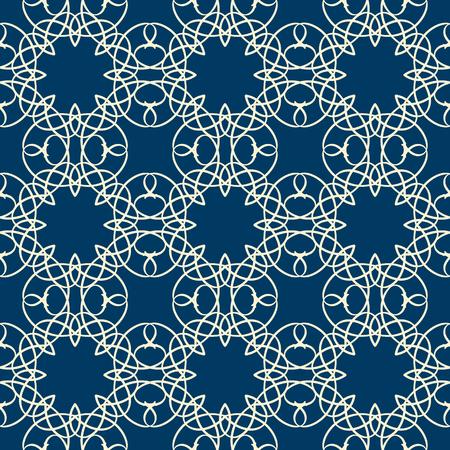 파란색 배경 평면 벡터 일러스트 레이 션에 흰색 선 squiggles로 구성 된 복잡한 장식으로 레이스 원활한 패턴