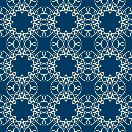 Lace seamless pattern with intricate ornament composed of white line squiggles on blue background flat vector Illustration Иллюстрация