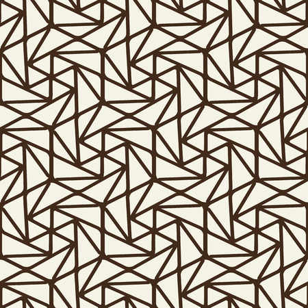 Abstract monochrome vintage seamless pattern with brown connected linear repeating structure on light background vector illustration