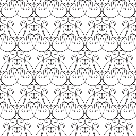 Abstract elegant seamless pattern with repeating ornate flourish traceries in monochrome style vector illustration Stock Photo