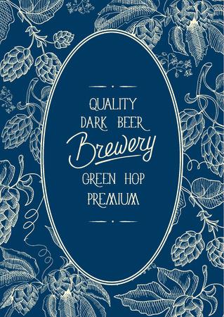 青い背景ベクトルのイラストのカードの中央に高品質のダークビール醸造所グリーンホッププレミアムの碑文と装飾的な楕円形の装飾的な花輪フレ