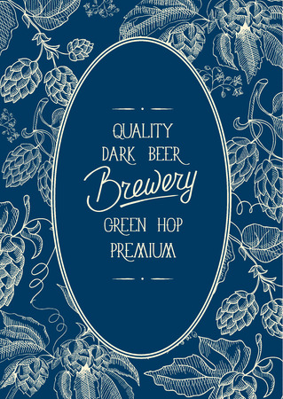 Decorative oval decorative wreath frame composition with inscription that quality dark beer brewery green hop premium in center of card on blue background vector illustration.
