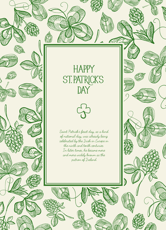 Green and white square frame sketch composition postcard with many traditional elements around the text about st. patrick's day decorated on white background vector illustration